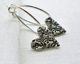 Sterling Silver Hoops with Heart Charms Argentium Sterling Silver Earrings PMC Fine Silver Valentine