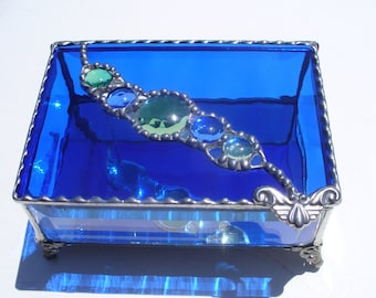 Cobalt River of Jewels - Stained Glass Jewelry Box with Faceted Glass Jewel and Glass Nuggets.  Your choice of Handle and Metal Finish.