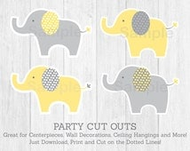 Yellow & Grey Elephant Cut Outs / Elephant Centerpiece / Wall Decor / Party Decor / Printable INSTANT DOWNLOAD