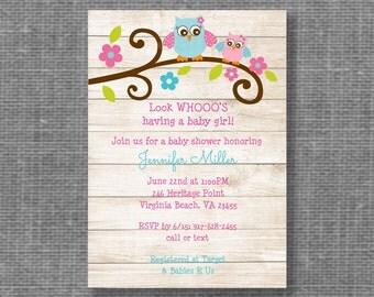 Woodland Owl Baby Shower Invitation / Owl Baby Shower / Rustic Baby Shower / Pink Owl / Girl Owl / Baby Girl Shower / PRINTABLE