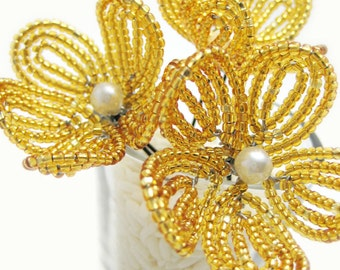 gold beaded flower hair pins,  French beaded flowers, brides, bridesmaids, flower girl