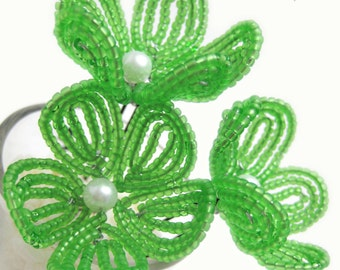 lime green beaded flower hair pins - French beaded flowers, bridal, bridesmaid, flower girl, Chartreuse