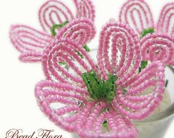 cherry blossom pink beaded flower hair pins, French beaded flowers - bridal, bridesmaid, flower girl