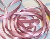 ROSY MAUVE DouBLe FaCeD SaTiN RiBBoN, Polyester 1/4 inch wide, 5 Yards