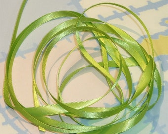 APPLE GREEN DouBLe FaCeD SaTiN RiBBoN, Polyester 1/4 inch wide, 5 Yards