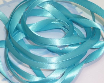 MISTY TURQUOISE DouBLe FaCeD SaTiN RiBBoN, Polyester 1/4 inch wide, 5 Yards