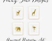 Nursery Animal Art Print, Gold Nursery Animal Wall Art Decor Baby Nursery Decor Digital Art Printable Instant Download, deer elephant