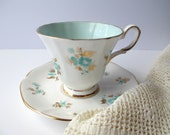 Vintage Tuscan English Bone China Aqua Gold Floral Teacup & Saucer