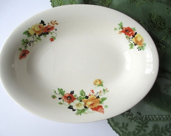 Vintage Homer Laughlin Orange Yellow Floral Serving Bowl, Oval Bowl, Cottage Style, Mid Century