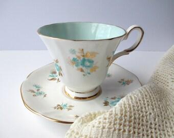 Vintage Tuscan English Bone China Aqua Gold Floral Teacup & Saucer
