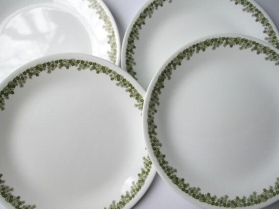 Vintage Corelle Spring Blossom Green Floral Dinner Plates Set of Four