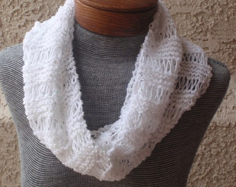 Hand-knitted sparkling, long white cowl/infinity scarf for year round wear