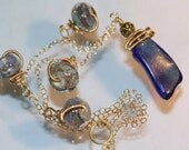 Cobalt Blue Necklace, Gold Flecked Sandwich Glass, Historical Cape Cod Glass Necklace