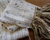 handwoven scarf winter white chenille on ivy scarf