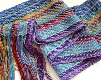 handwoven rayon scarf springtime light blue in a blend of colorful hues