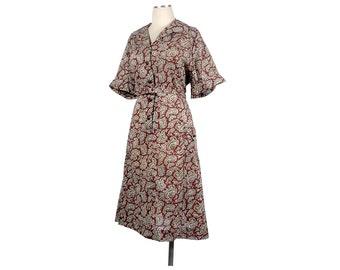 Vintage 60s Dress - 60s Day Dress - Burgundy Red Olive Green - Paisley Dress - 60s  Shirtwaist Dress - XL Dress - XXL Dress - Day Dress