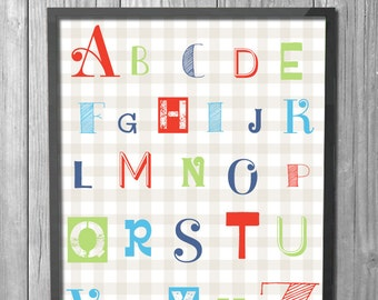 Alphabet Nursery Print // Printable Educational Art // Baby Boy // Baby Girl // Bright Colors // Gingham // INSTANT DOWNLOAD