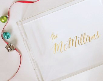 Gold Foil Acrylic Tray - Lucite Tray - Hostess Gift - Personalized - Trinket Tray - Holiday Party - Holiday Decor - Serving Tray