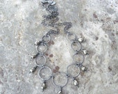pyrite and silver necklace, elegant boho necklace, metalwork necklace, rustic oxidized jewelry