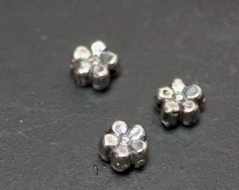 Spacer Bead Flowers Tiny Sterling Silver