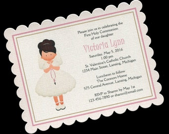 First Communion Invitations - First Holy Communion - Girls Communion Invitations - Pink - Communion Girl - Dark Brown Hair - 20