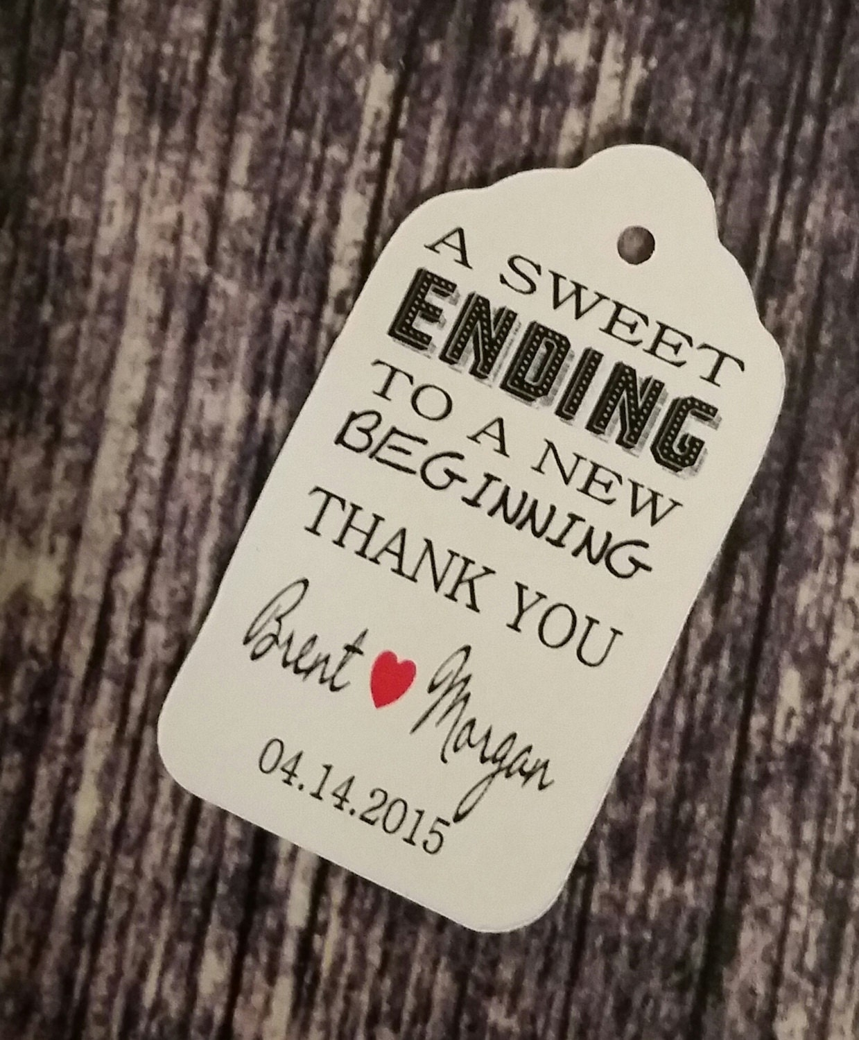 Wedding Favor Tags With Photo : Sweet Ending to a new Beginning Thank You favor tag MEDIUM