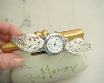 Floral Sterling Silver Spoon Quartz Watch