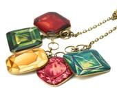 Resin Shrink Plastic Red Green Yellow Pink Blue Faux Gemstone Jewel Statement Bib Choker Necklace