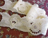 4 Vintage Cotton Lace Panels  ~ Broderie Anglaise