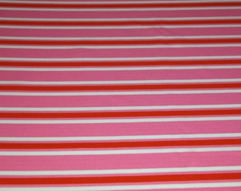 vintage 70s novelty fabric featuring pink, orange and white stripe design, 1 yard, 2 available priced PER YARD