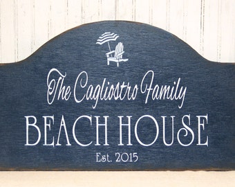 Beach House wooden sign, personalized beach sign, hand painted rustic beach house