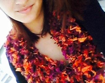 Infinity Scarf- Eternity, Feathery textured  Loop eternity scarf, Purple, Red, Orange and brown