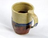 Pottery Mug in Landscape Design - Tan, Brown, Blue, and Green - 12 oz.