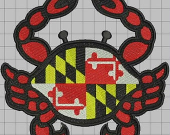 Maryland Crabby Flag Stained Glass Style Embroidery Design