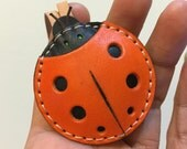 Ready Stock - Small size - Penny the ladybug vegetable tanned leather charm ( Orange / black )