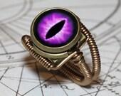 Steampunk Jewelry - Eyeball ring - Purple Dragon eye steampunk ring