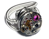 Steampunk Jewelry - Watch Movement Steampunk Ring with fuchsia crystal - Silver Tone by Catherinette Rings
