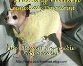Immediate Download - PDF Knitting Pattern -Elegant Reversible Dog Sweater