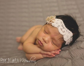 Elin - Beige Tan Nude Cream Lace Headband - Twine Silk Bow - Newborn Infant Baby Girl Toddler Adult