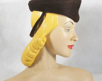 1940s Hat Military Inspired Brown Wool Tilt / Formans New York Creations