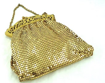 Whiting and Davis Gold Mesh Evening Bag 1940s