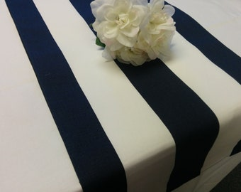 """NAVY  STRIPED RUNNER  Stripes are 2.75"""" wide Navy blue striped Runners 48- 108"""" Nautical Beach Wedding Bridal"""