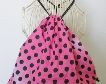 Pink and Black Polka Dots Backpack