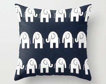 Navy Pillow cover Elephant Pillow Cover Decorative Pillow Cover Nursery Pillows Size Choice