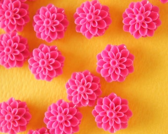 SALE 10 pcs Dahlia Cabochon (15mm) Fuchsia Pink  FL202 (((LAST/ no restock)))