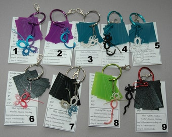 Tatting Picot Gauges on Large Ring with tatted motif on hook, CHOOSE ONE