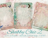 Instant Download  - Shabby Chic 2 -  labels or Tags - ACEO - Digital Download - Printable  Digital Collage Sheet