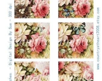 Memoir -  3 inch Squares - Printable Digital Collage Sheet - Digital Download