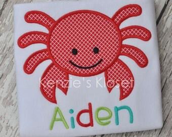 Crab t-shirt - Crab shirts - Crab monogrammed shirt - Crab personalized shirt - t-shirts - Kids - Babies - Toddlers - 12 mo 2t 3t 4t 5 6