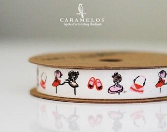 "Bulk 10 Yard roll of Cotton Ballerina Theme Print Ribbon 5/8"""